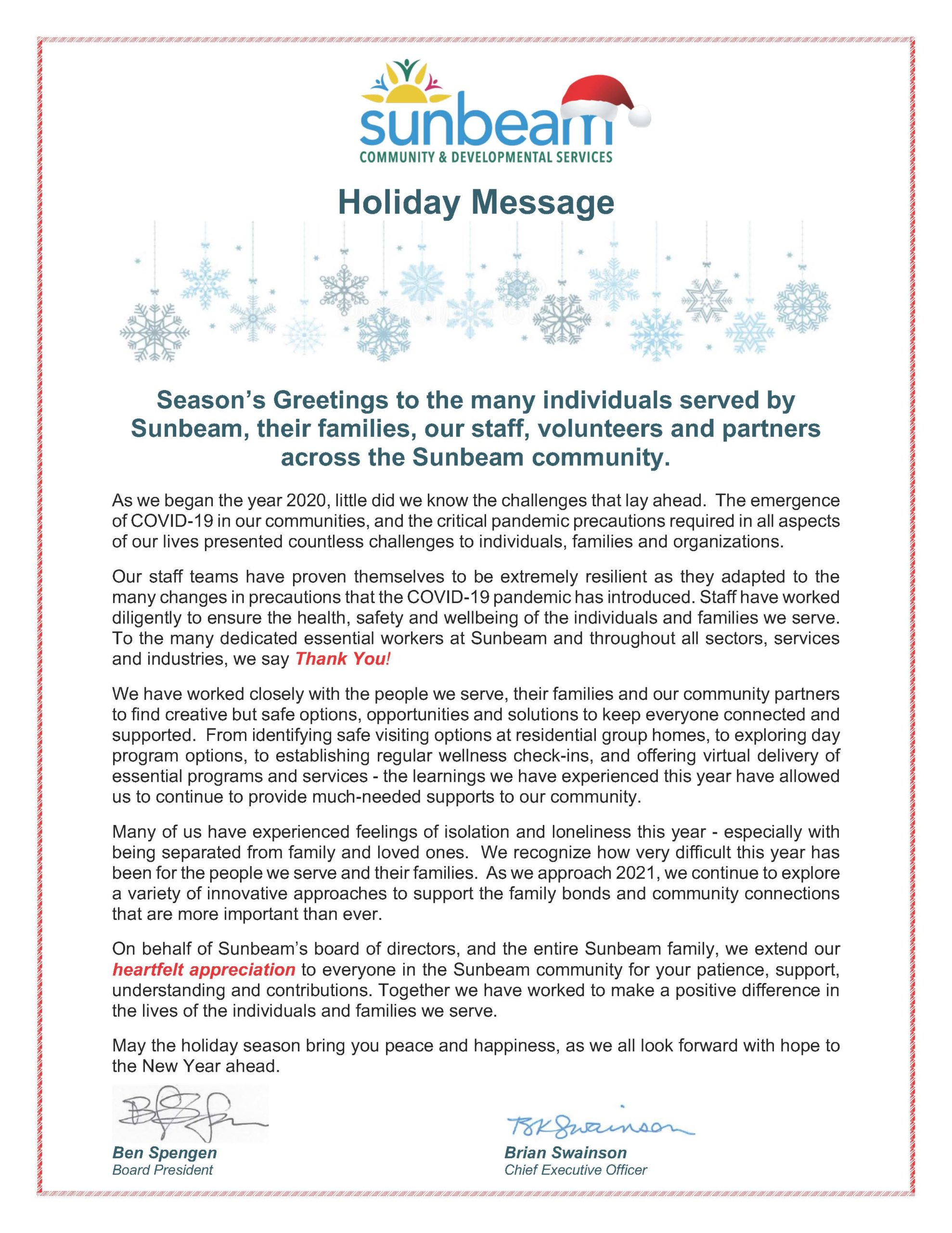 Sunbeam Community Holiday Message